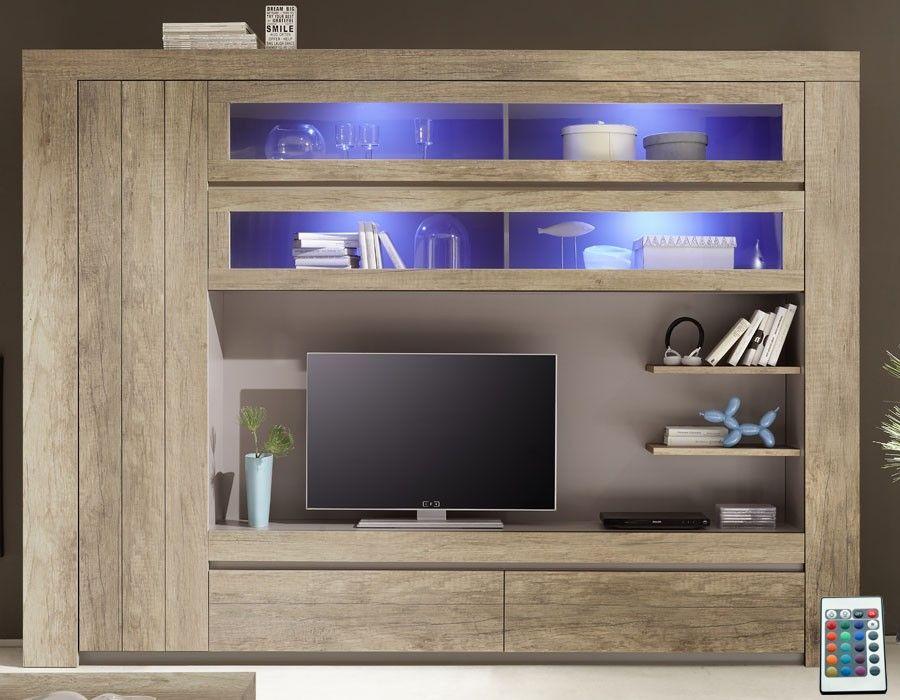 Meuble Tv Mural Contemporain Couleur Chene Marron Venezia 2 Meuble Tv Meuble Tv Mural Mobilier De Salon