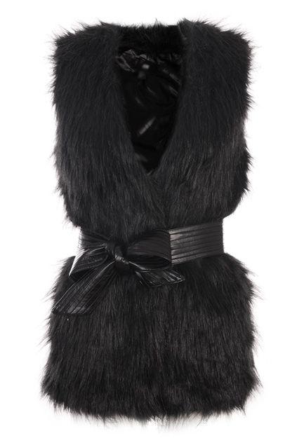 #romwe Faux Fur Longline Black Vest  $91.99