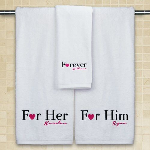 Embroidered His Hers Towel Set Towel Personalized Bath Towels Personalized Towels