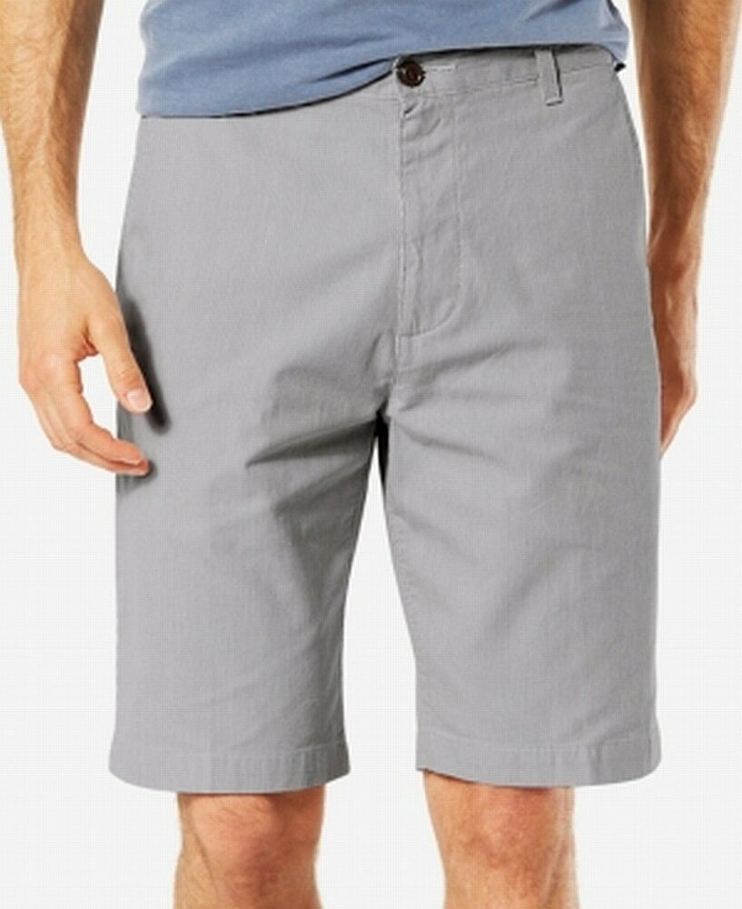 New TOMMY HILFIGER Men/'s Flat Front Classic Fit Chino Short 32 Gray violet