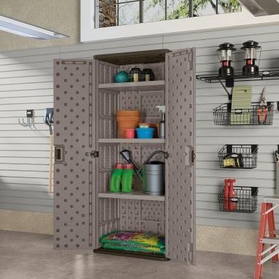 3 Shelf Resin Tall Storage Cabinet In Platinum Bmc7200 The Home Depot