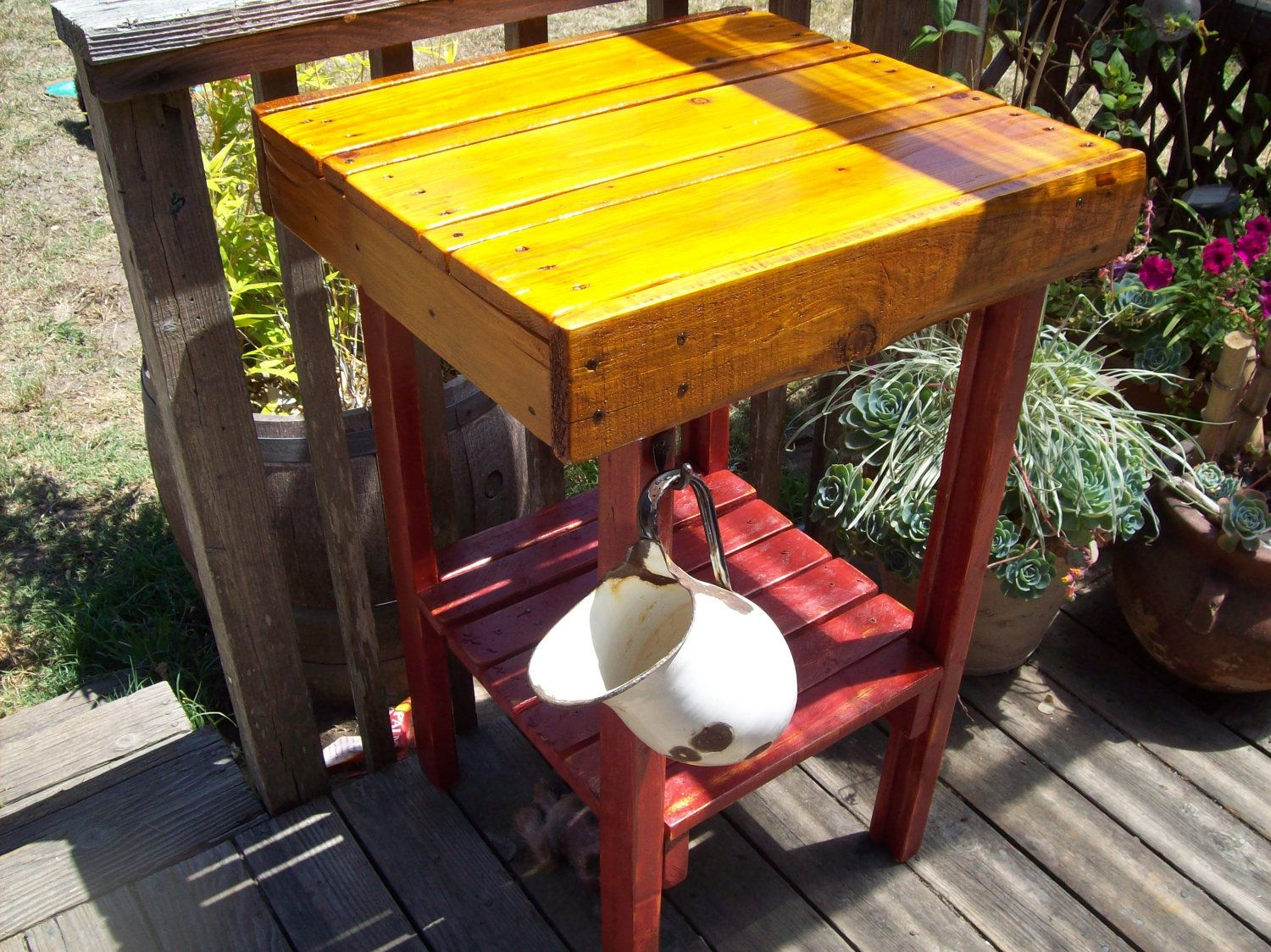 Kitchen island made from pallet red upcycled via etsy