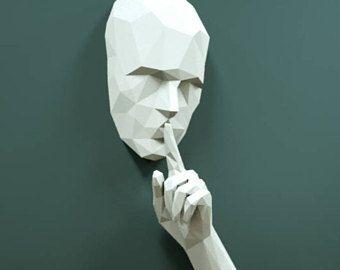 Paper trophy, PDF skull, sculpture paper craft, 3D papercraft model, papercraft pattern, paper art , Papercraft 3D