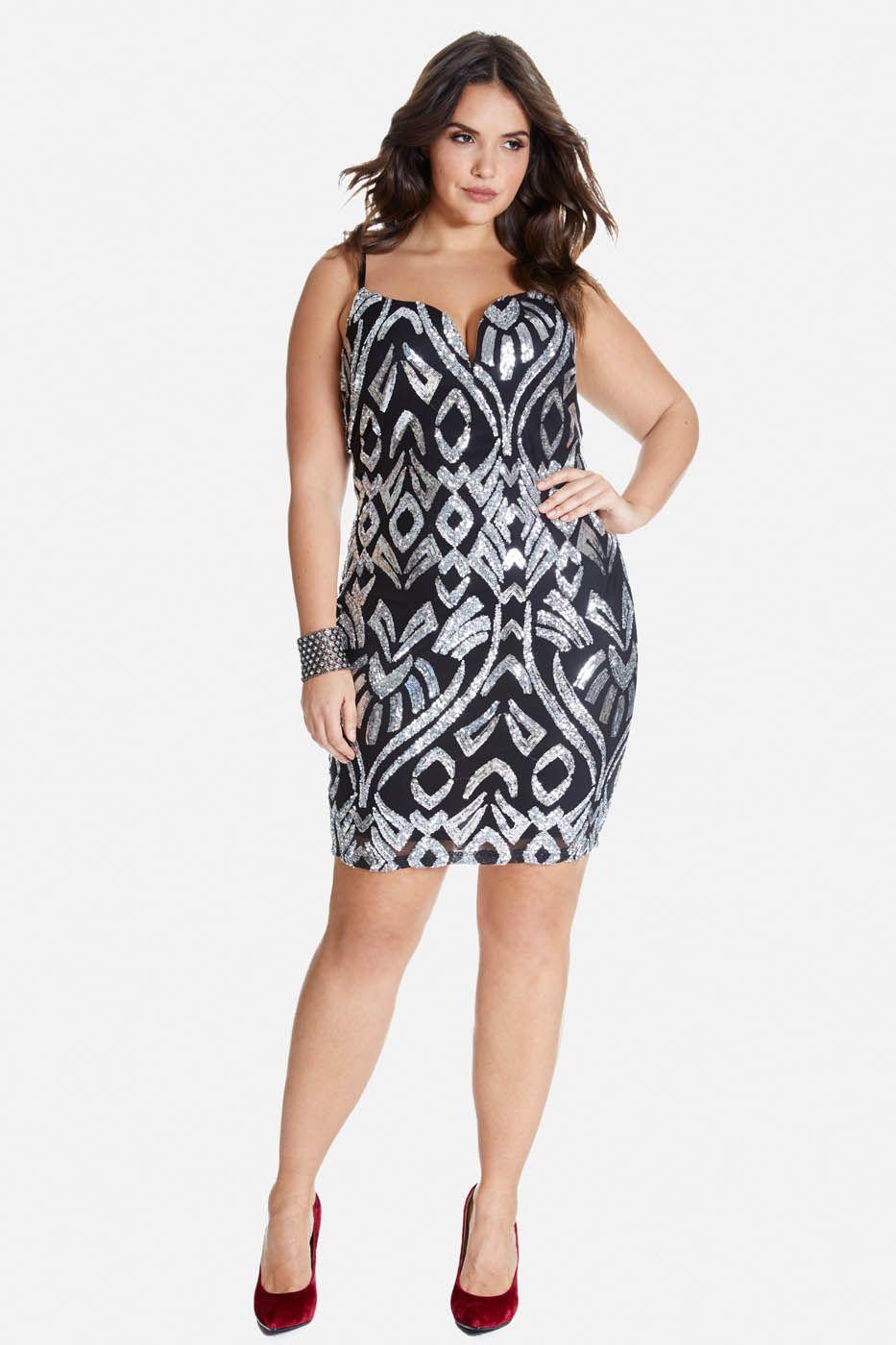 Plus Size High Lights Sequin Slip Dress Big Time NYE