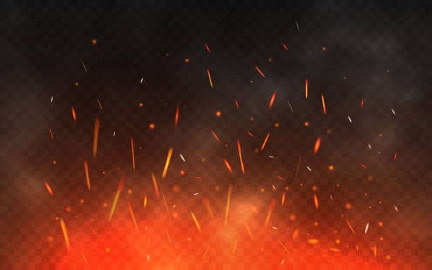 Fire Sparks Flying Up Glowing Particles On A Transparent Background Realistic Fire And Smoke Red And Yellow Light Effect Vector Illustration Stock Illustration In 2020 Light Background Images Blur Photo