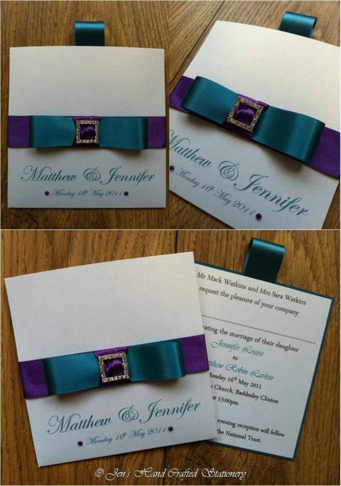 Cadburys purple and teal Wallet Wedding Invitation www ...