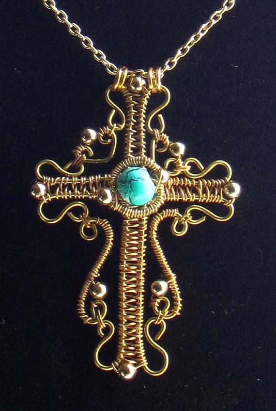 Beautiful Wire work Cross with Turquoise Bead, Gold wire | Draht ...