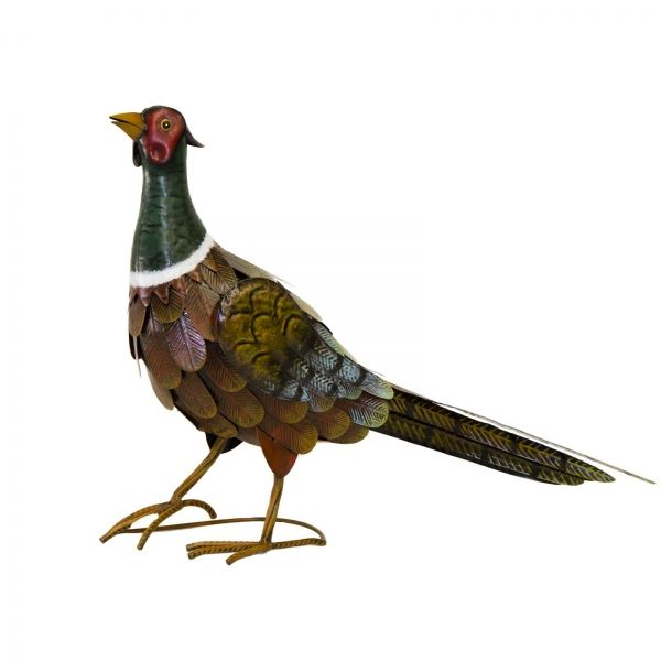 Metal Garden Ornament Ideas Outdoor Birds Colourful Pheasant Art Decor