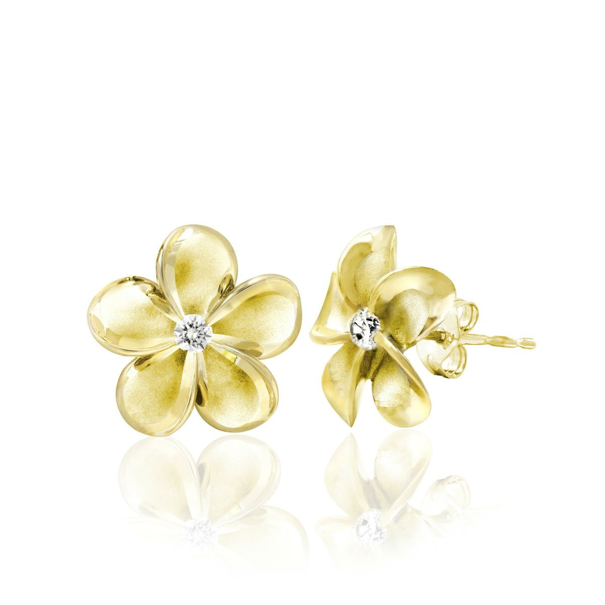 84e6bbd4d Queen Plumeria Stud Earrings with Diamonds, 15mm | Foods and Recipes ...