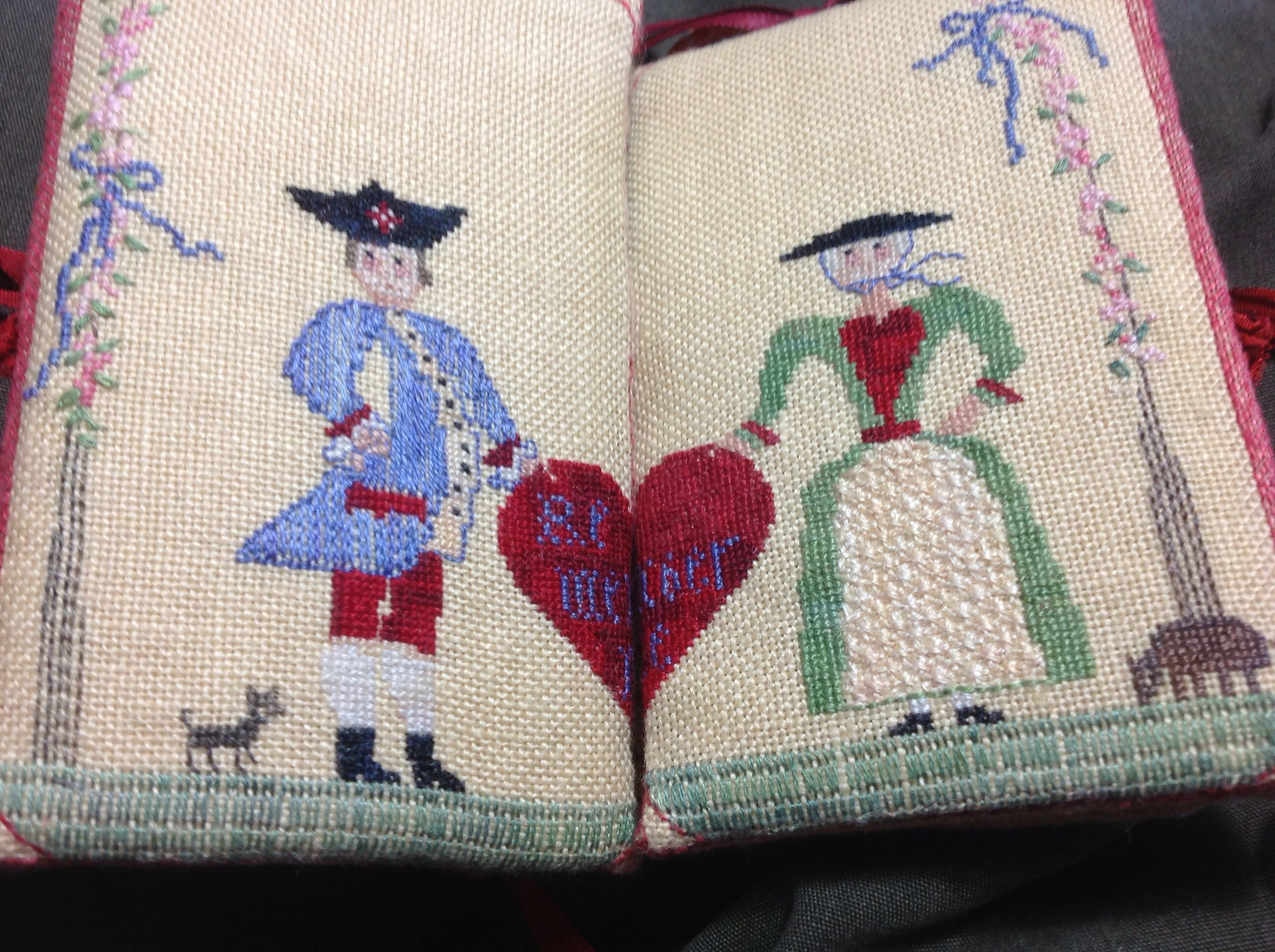 Forget Me Not In Stitches Hearts Sewing Case First Inside Open Stitched By Penelope Darby Sewing Case Needlework Cross Stitch