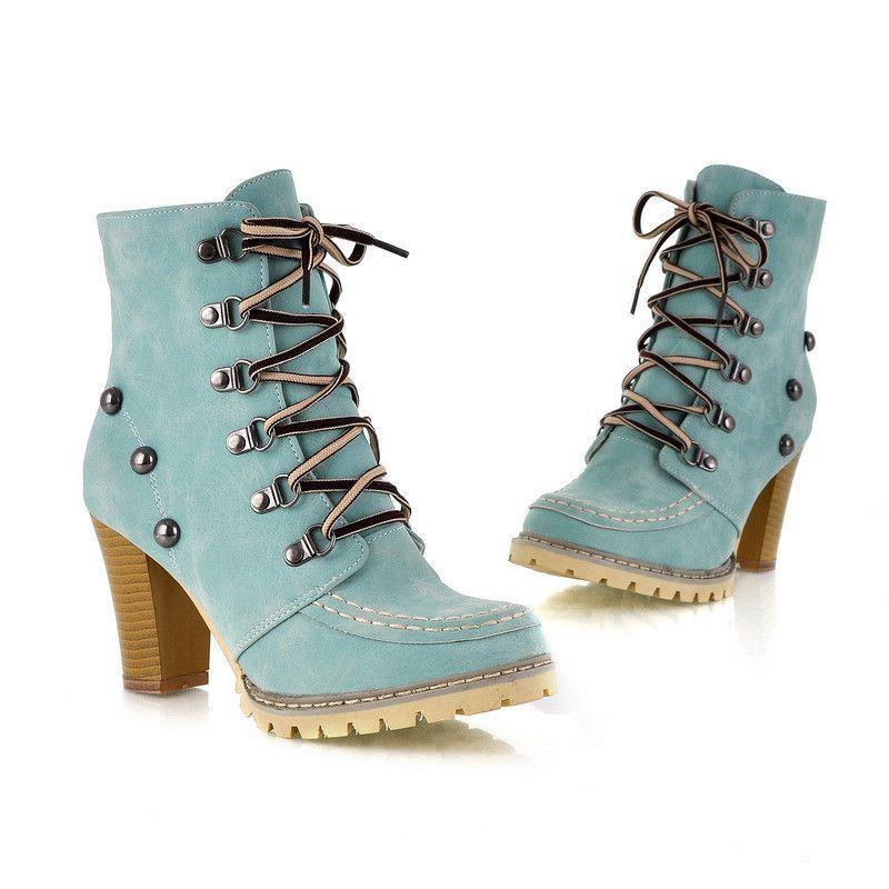 Fashoin Studded Womens Chunky Heel Martin Boots High Top Boots