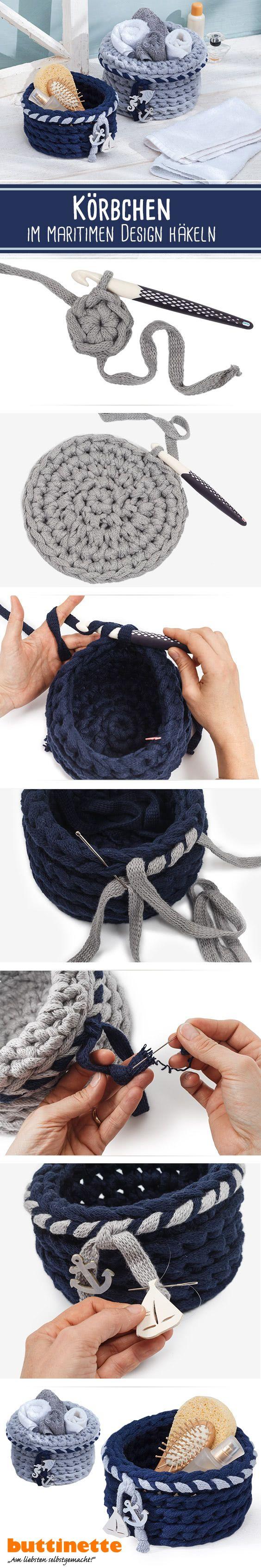 Photo of Crochet basket in a maritime design #maritim # crochet #buttinette #buttinettek …