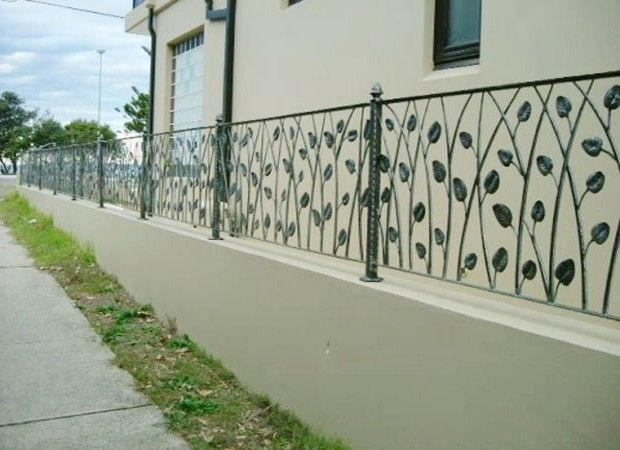 Wrought Iron Fence On Top Of Block Wall Google Search Bamboo
