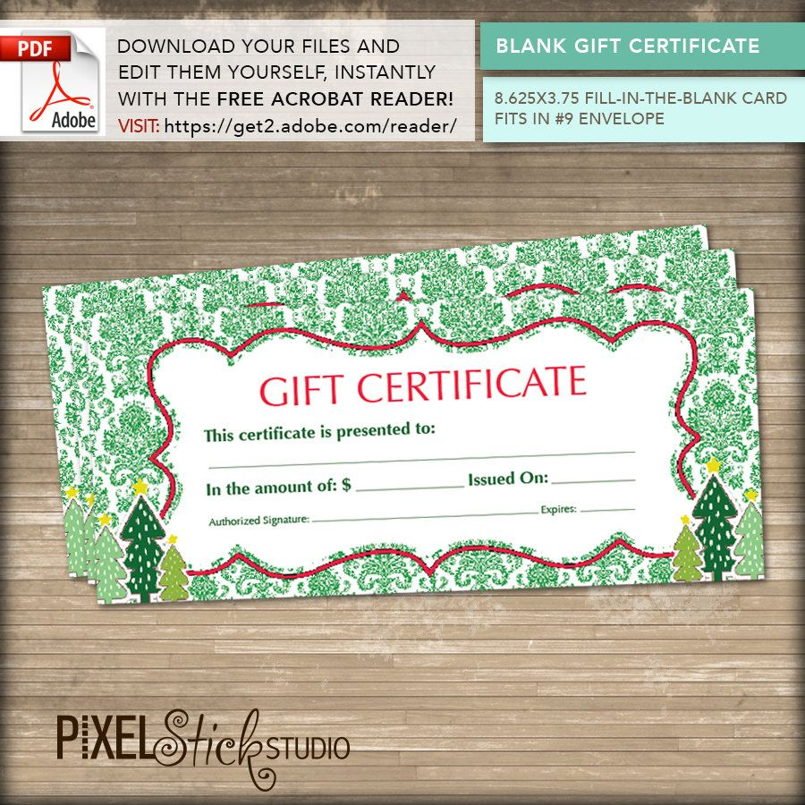 instant download blank gift certificates holiday great gift idea edit yourself. Black Bedroom Furniture Sets. Home Design Ideas