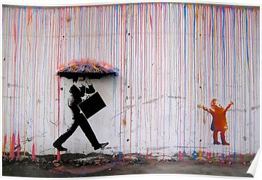 'Banksy Umbrella Rainbow Happy Girl' Poster by bufumofo