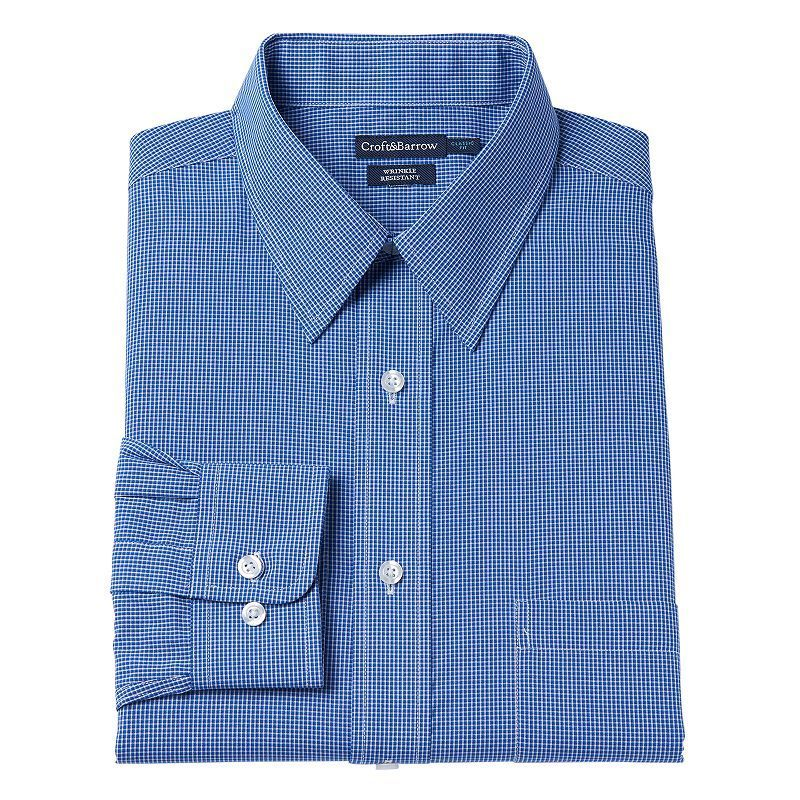 New Croft /& Barrow Men/'s Classic-Fit Plaid Button-Down Collar Dress Shirt $32