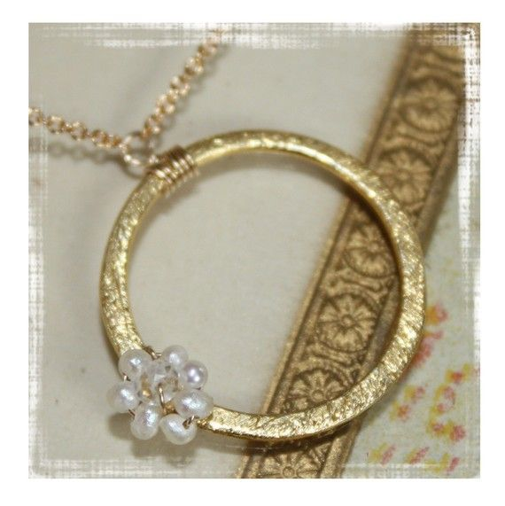 he loves me...he loves me not, tiny freshwater pearl flower necklace with crystal attached to gold vermeil ring