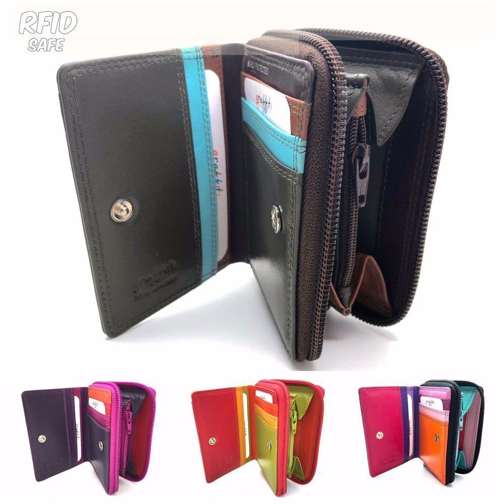 Golunski RFID Black Tropical Multi Coloured Leather Small Purse Wallet