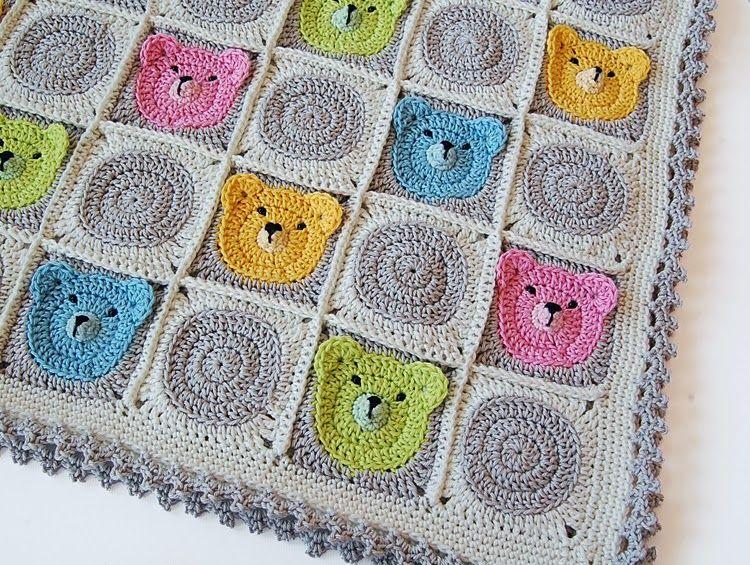Dadas place: Teddy Bear Granny Square Baby Blanket CROCHET BABY AFGHAN...