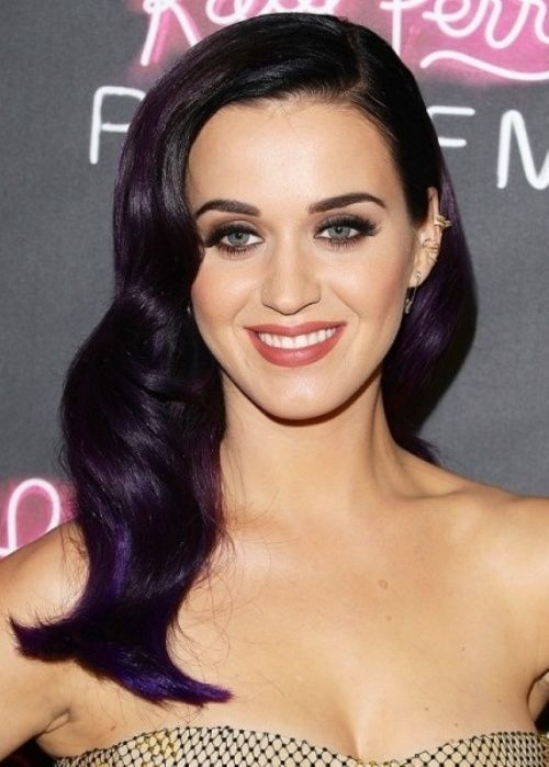Katy Perry Hairstyle: Subtle purple curls Top 50 Hairstyles for Oval Faces | herinterest.com
