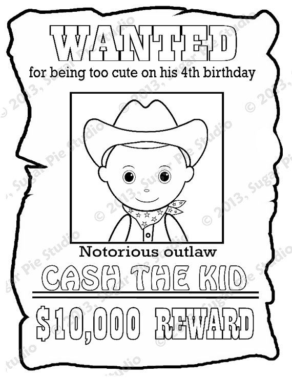 Personalized Printable Wanted Cowboy Poster Birthday Party Etsy Business For Kids Coloring For Kids Cowgirl Poster