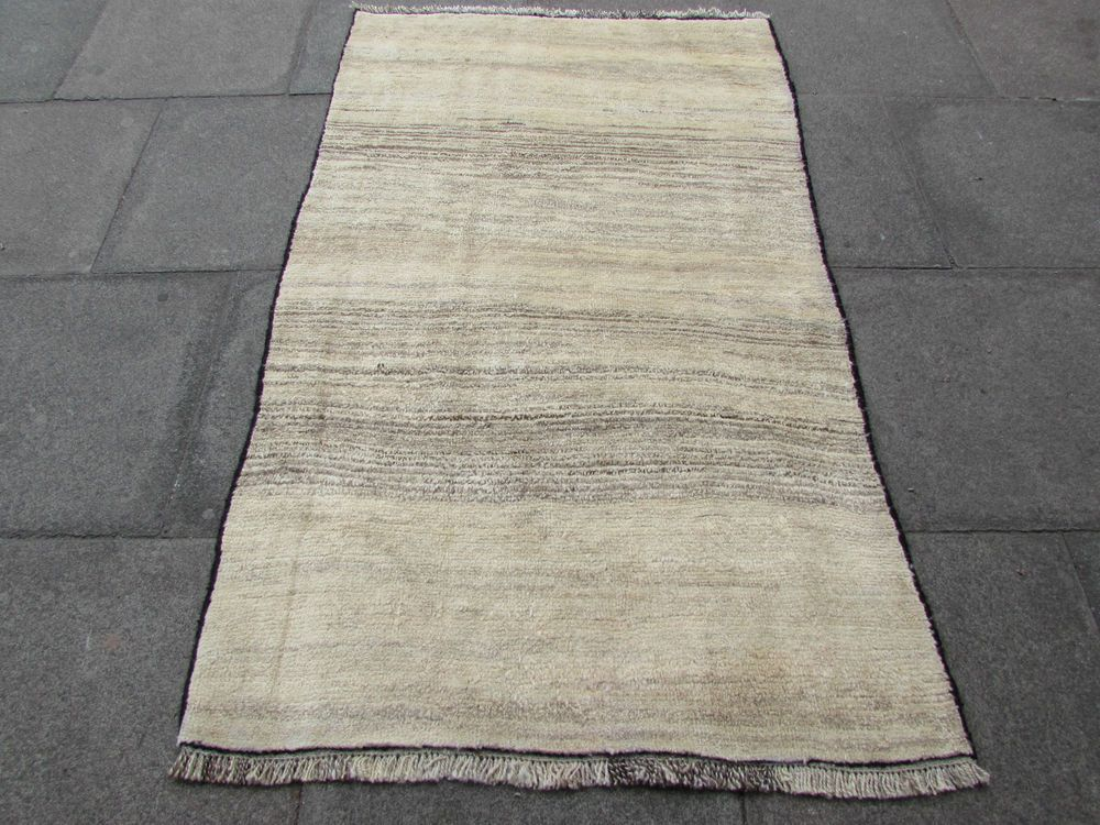 Old Traditional Hand Made Persian Oriental Gabbeh Rug Wool Grey Cream 185x100cm Ebay