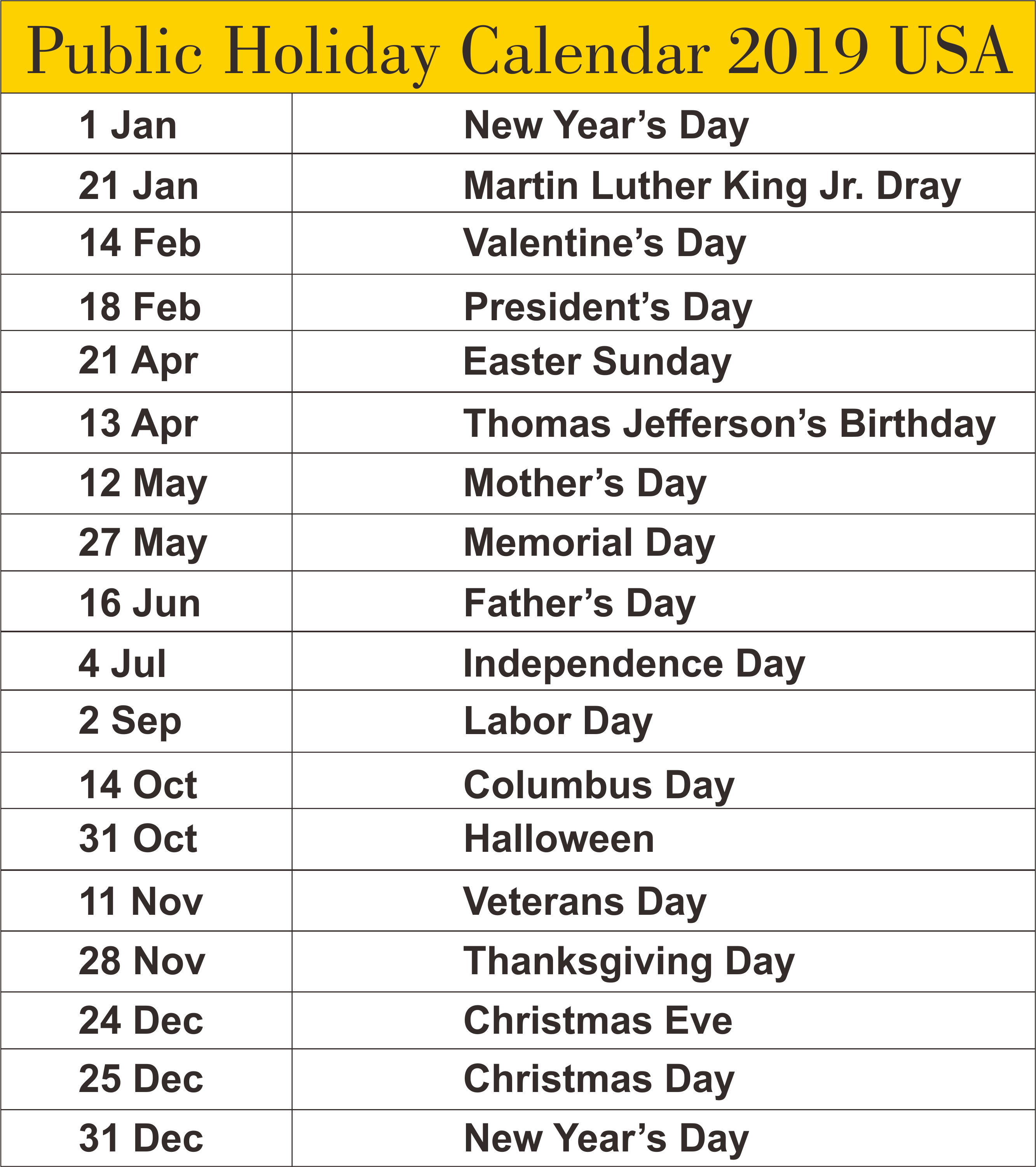 School Shooting United States 2019: Public Holidays Calendar 2019 USA #2019Calendar