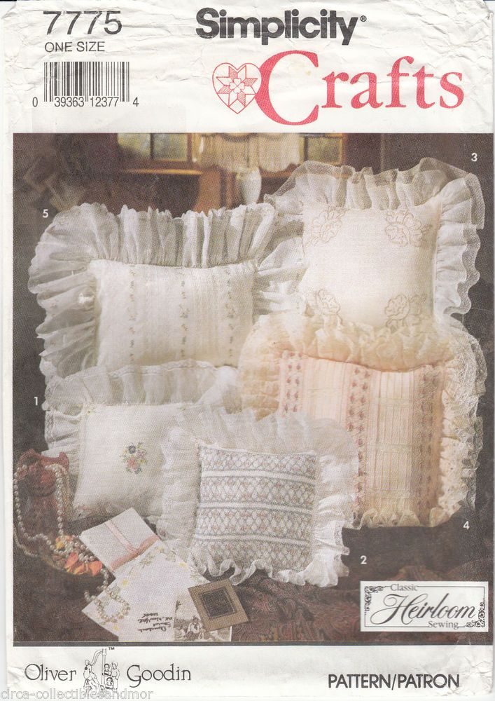 Heirloom Pillows Boudoir Ring Bearer Lace Smocking Embroidery Simplicity 7775