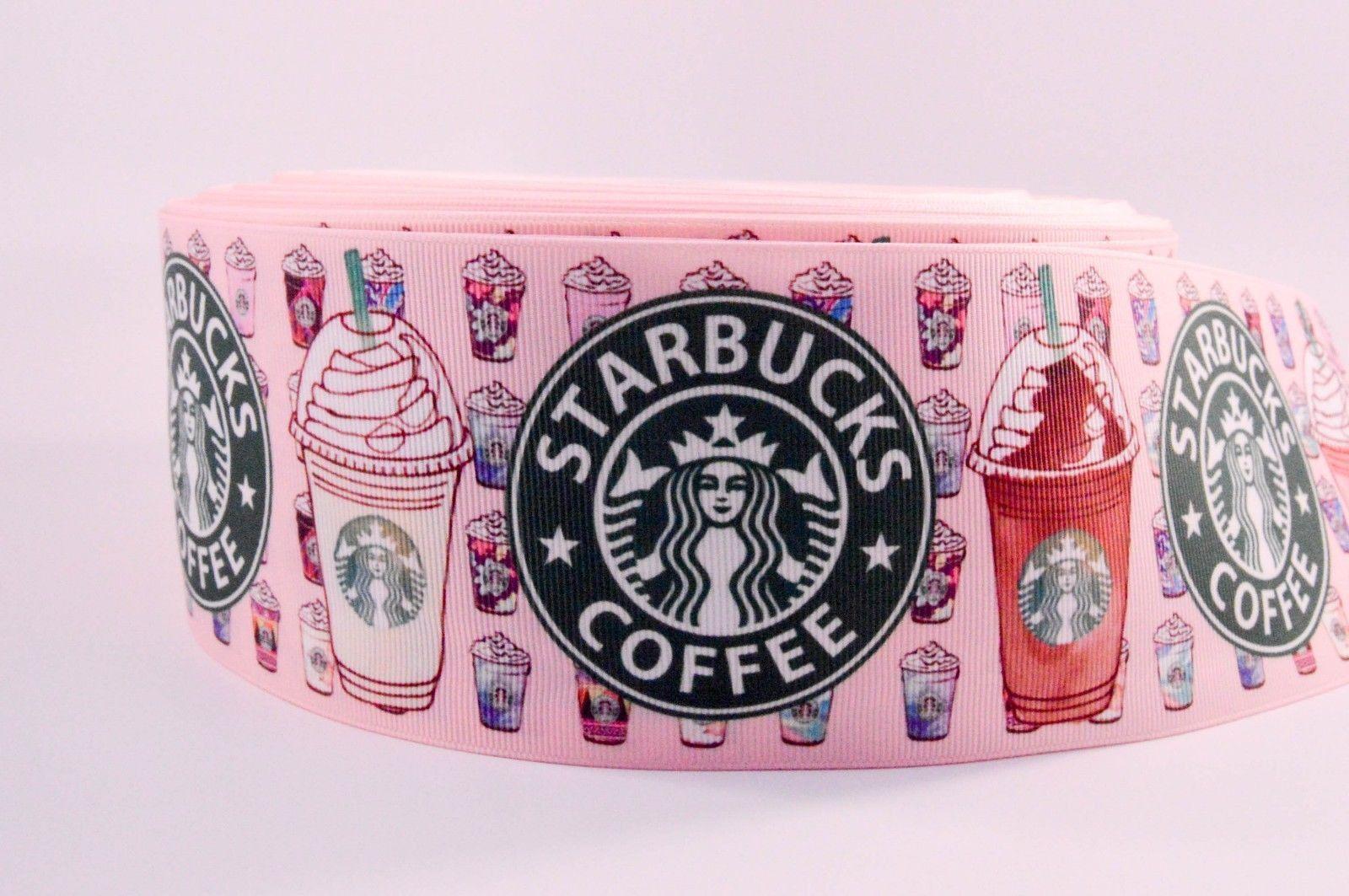 "3"" Wide Pink Mini Starbucks Drinks on Grosgrain Cheer Bow Ribbon"