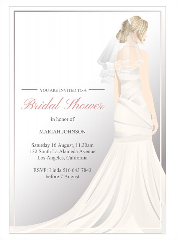 Free Bridal Shower Invitations Templates Wedding Dress Bridal Shower Invitation Template  Invitations .