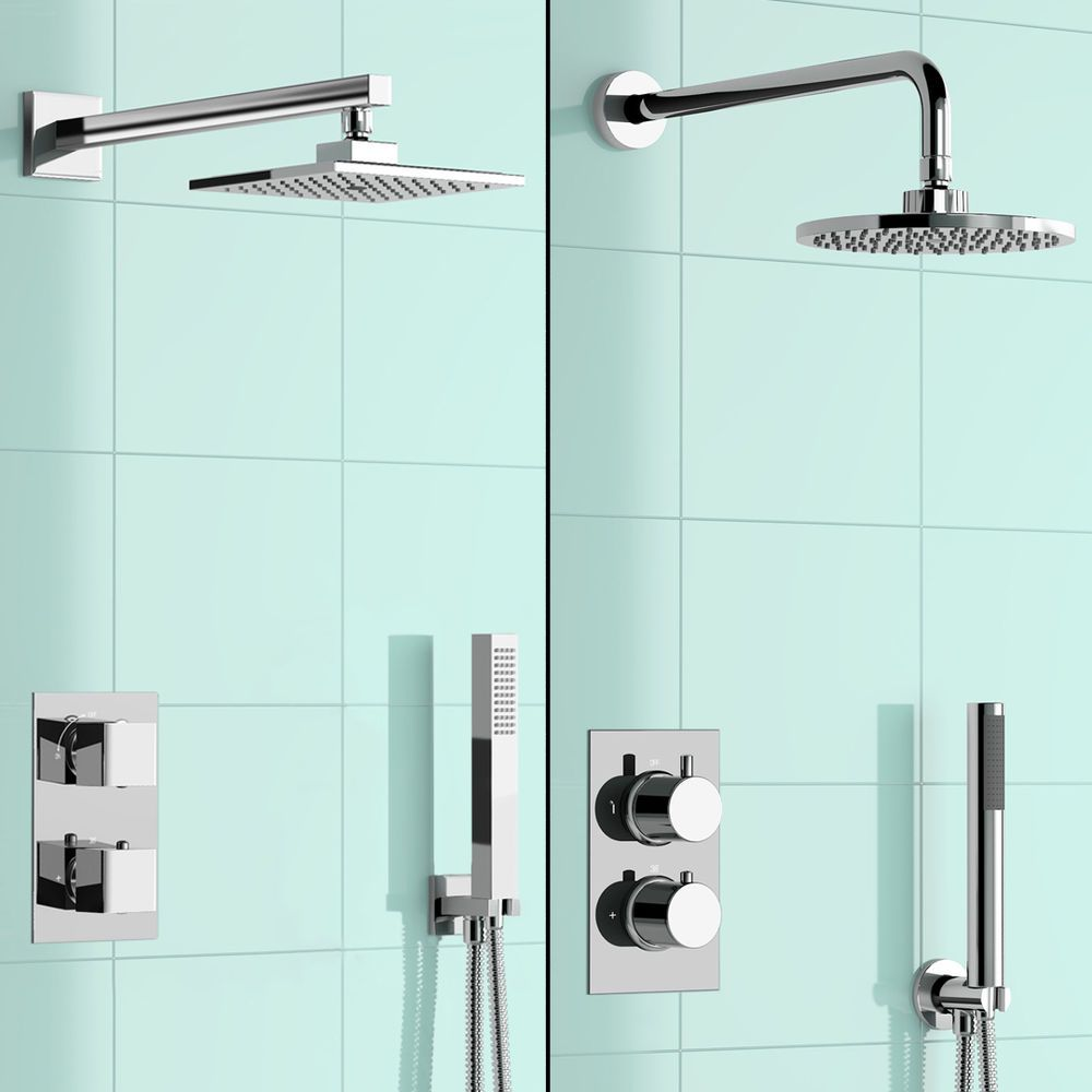 Modern Round or Square Mixer Shower Head Thermostatic Diverter ...
