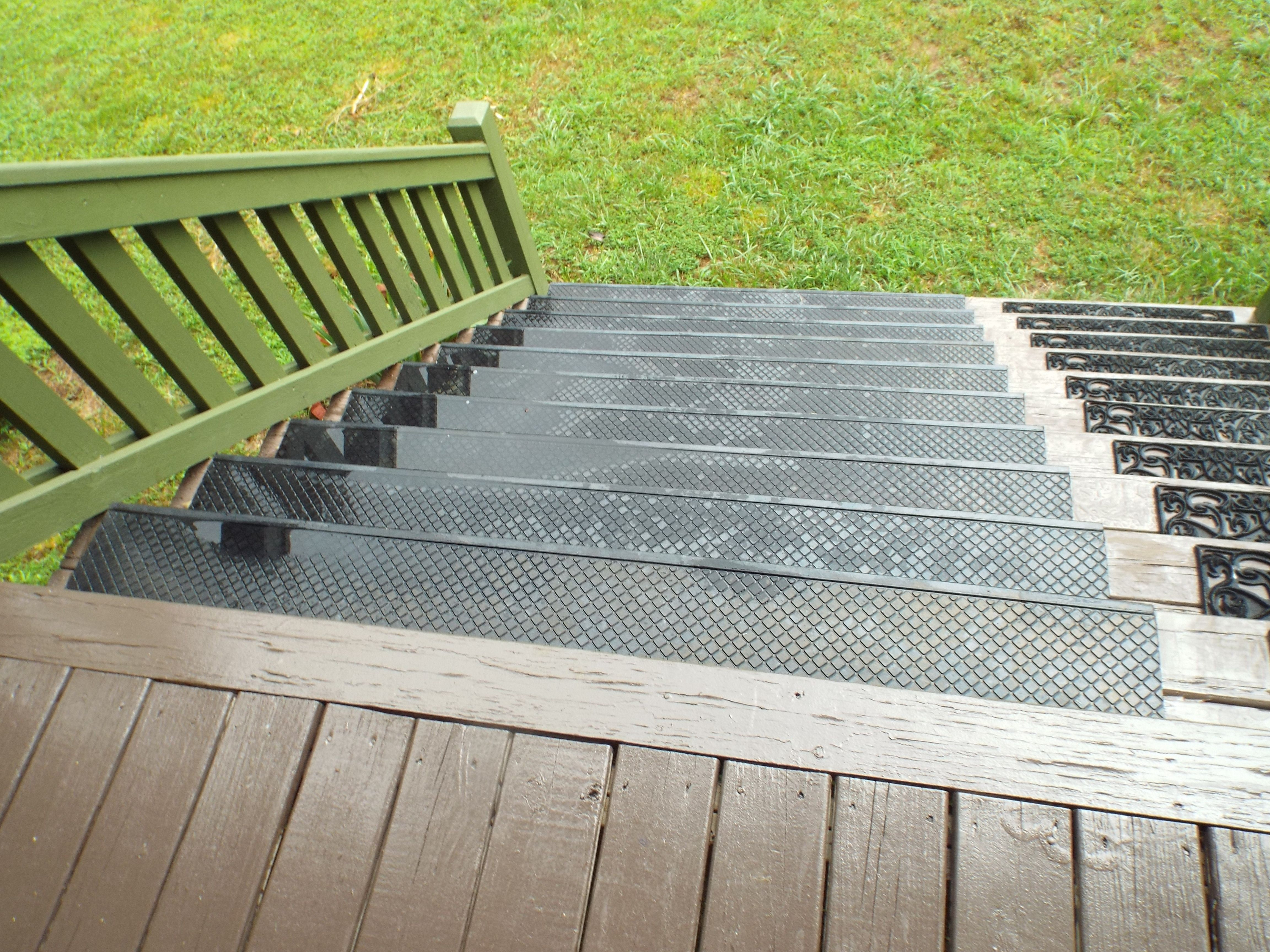Add Outdoor Stair Treads To Prevent Wood Steps From Getting Worn | Outdoor Deck Stair Treads | Composite Deck | Stringer | Pressure Treated Wood | Stair Stringer | Metal