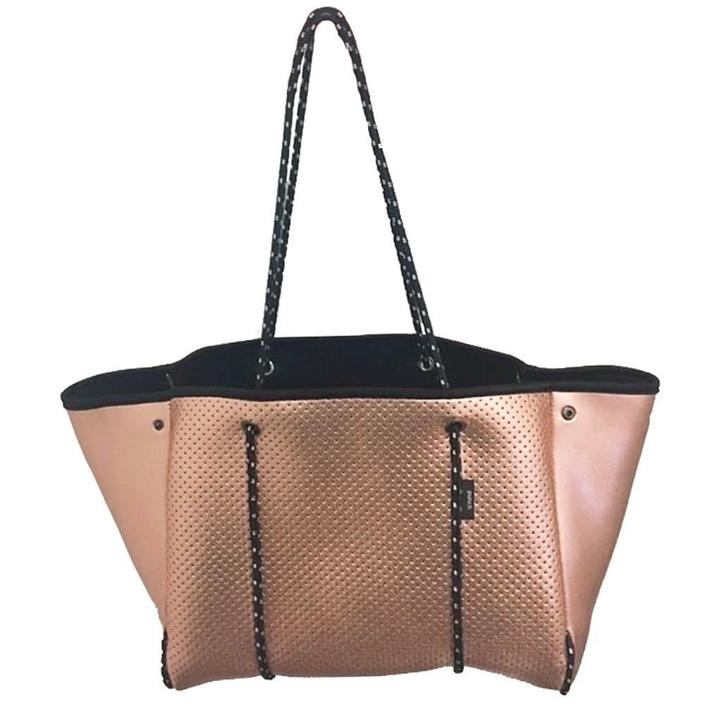 f65c9e56a9bbc Punch | Neoprene Tote Bag in Metallic Rose Gold | Punch Neoprene ...
