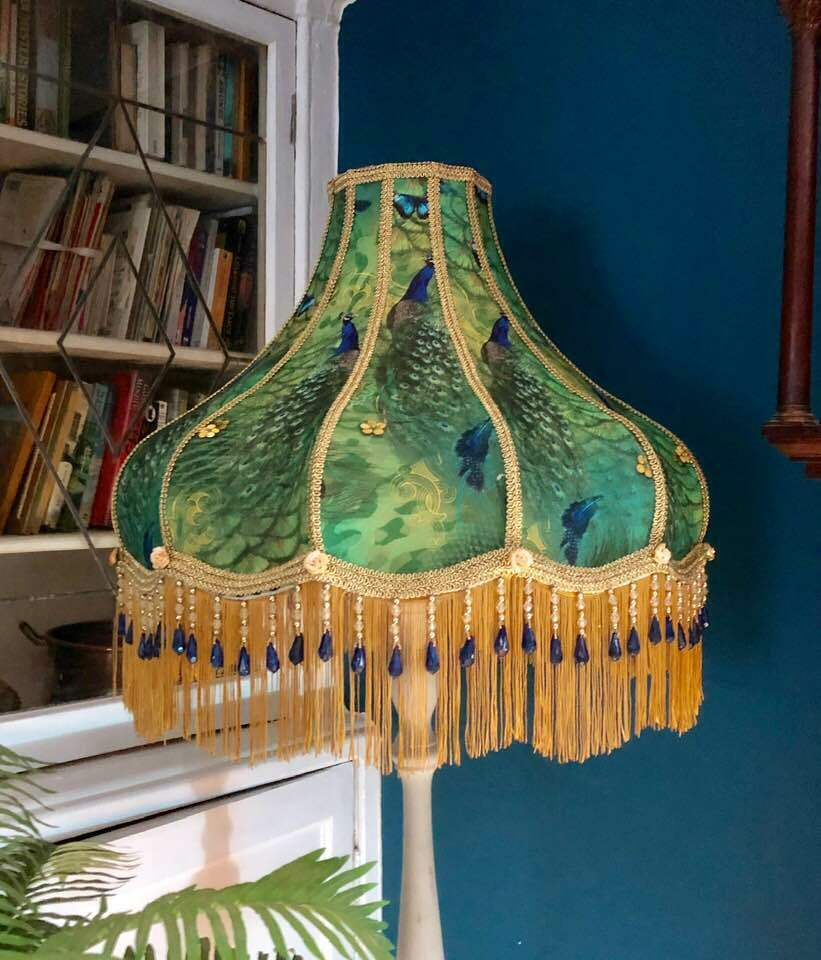 Victorian Style Lampshade Peacock Standard Lamp Fringe Beaded 22 Inches Ebay Victorian Lampshades Decorative Lamp Shades Standard Lamps