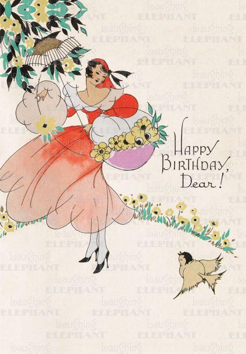 Happy Birthday Vintage Greeting Card ☮ Art Greeting
