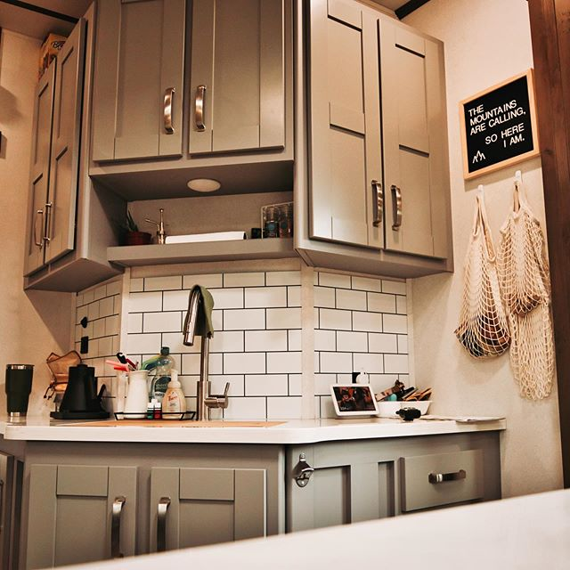 k r i s a n d y on instagram new rv kitchen we love the decor finishes and colors in on r kitchen cabinets id=82898