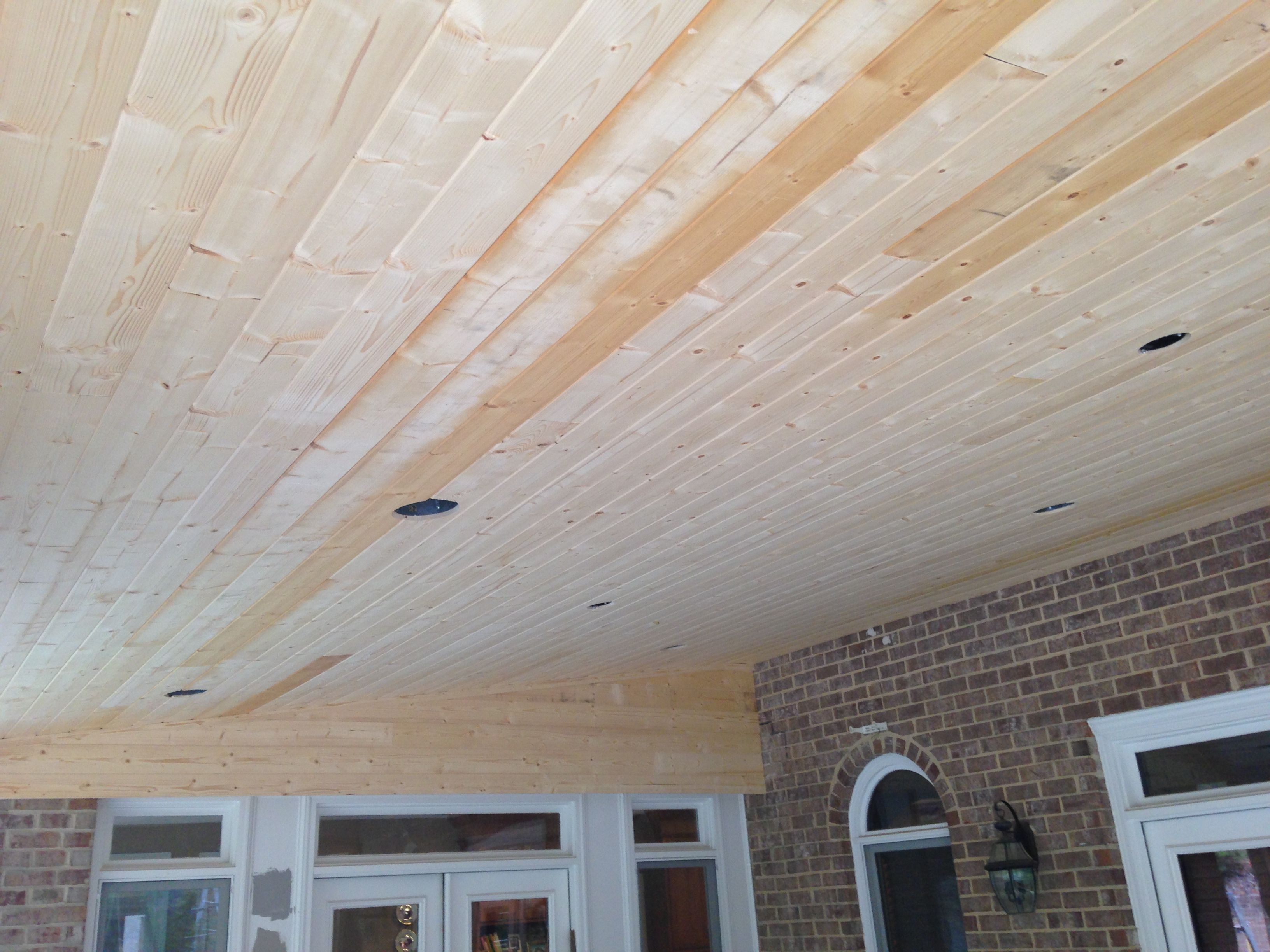 Tongue And Groove White Pine Porch Ceiling Before Stain Exteriorstaining Paint Foxbrothers Colored Ceiling Porch Ceiling Exterior Paint