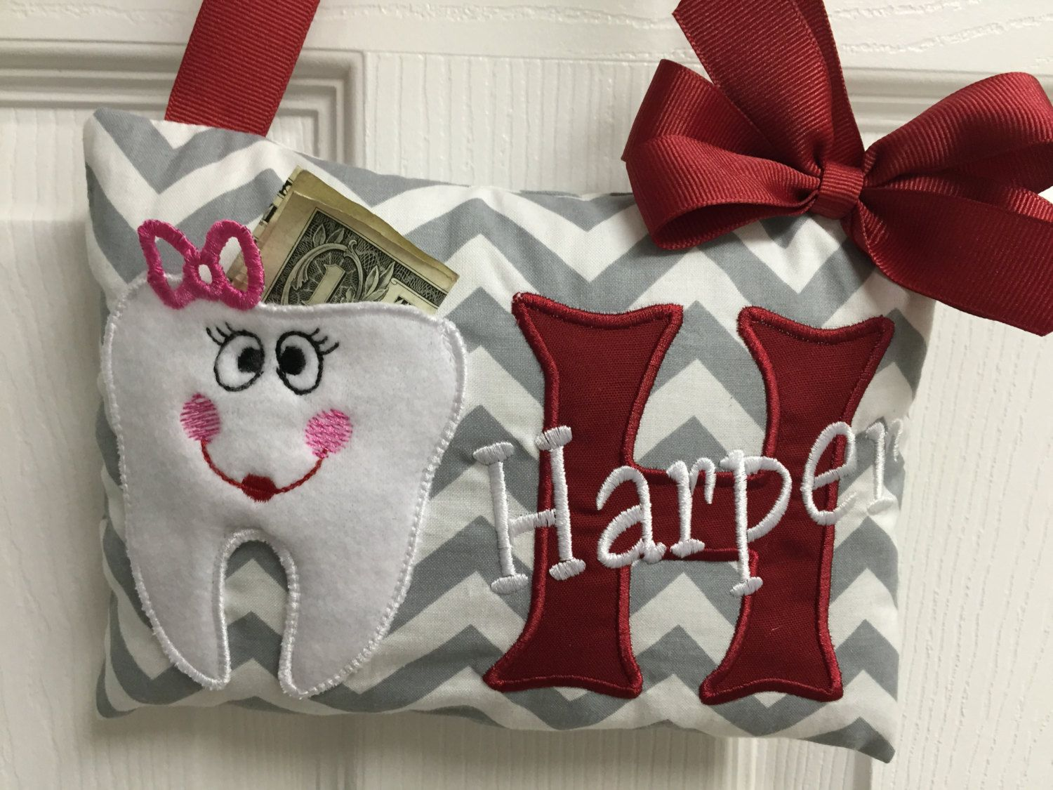 Personalized tooth fairy pillowlost tooth pillowtooth keepsake