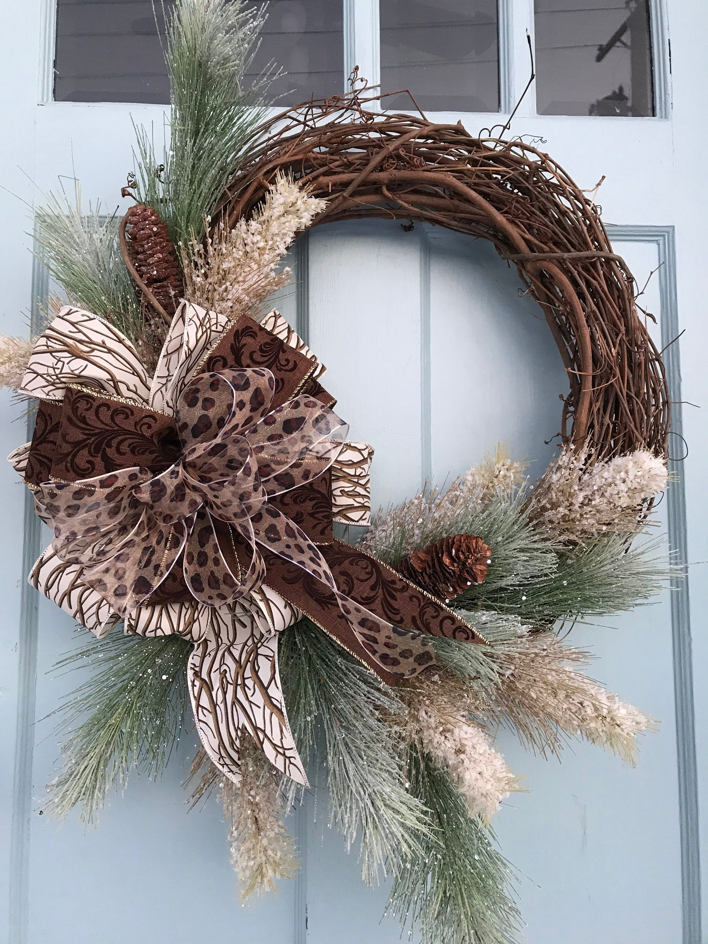 Photo of Pine all winter grapevine wreath for door, wreaths, wreaths for front door, farmhouse, Christmas wreath, cheetah wreath for front door,