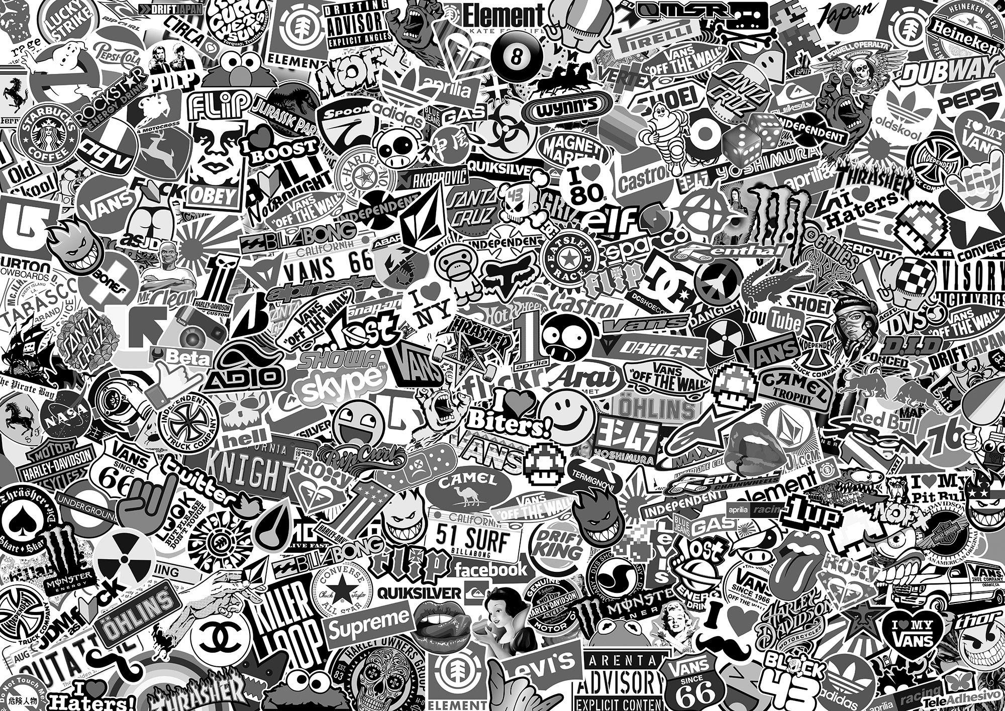 Pegatinas: Stickerbomb XL blanco y negro para decorar tablas de surf o skate. Disponibles varios modelos y tamaños de adhesivos #stickerbomb #pegatina #skate