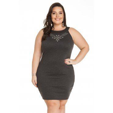 fa0106bc7 Vestido Mescla Escuro com Pedras Miss Masy Plus Size   Moda Plus ...