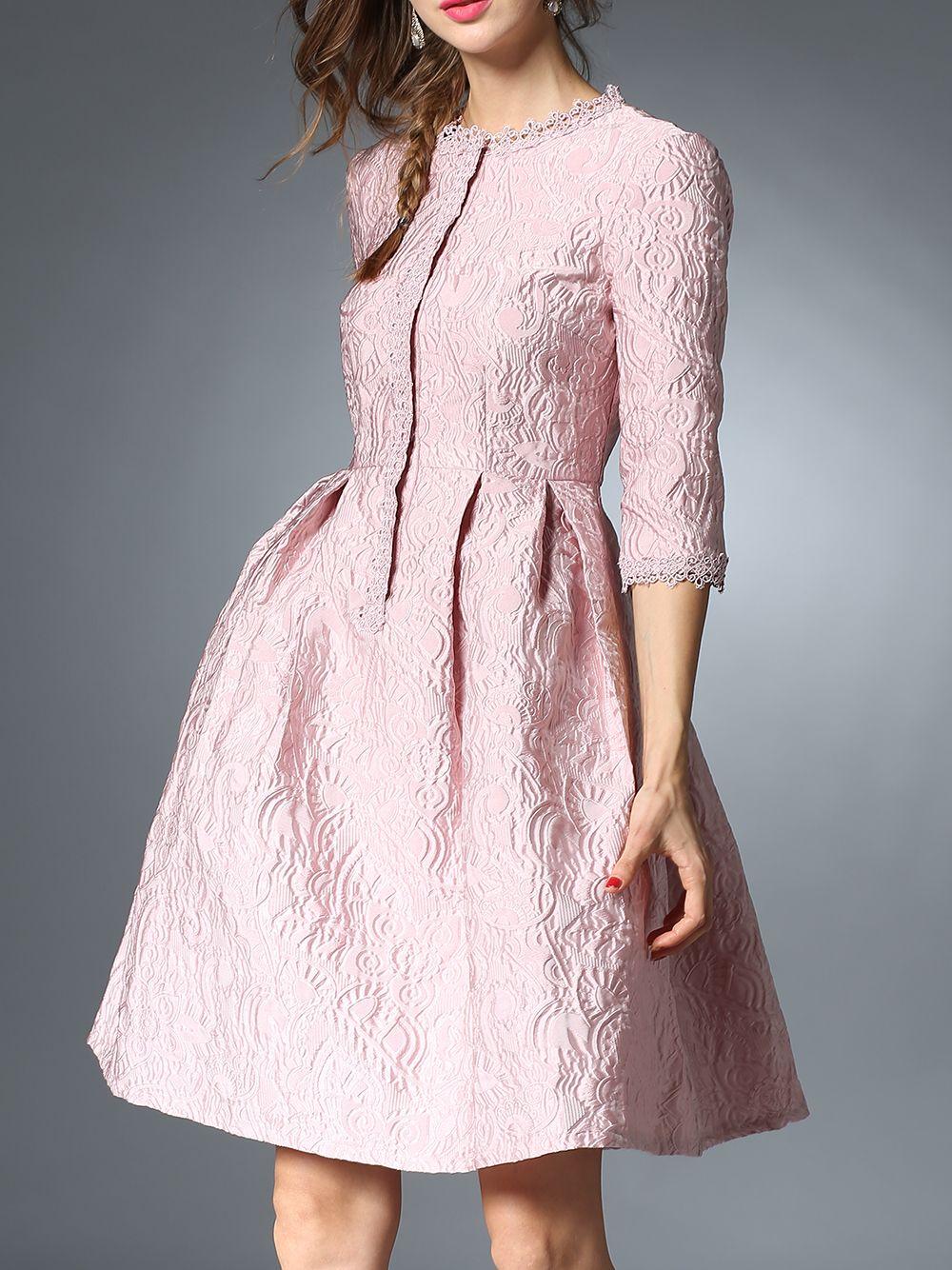 Shop Pink Jacquard Pockets A Line Dress Online Shein Offers Pink Jacquard Pockets A Line Dress Fit Flare Dress Elegant Dresses Flare Dress [ 1334 x 1000 Pixel ]