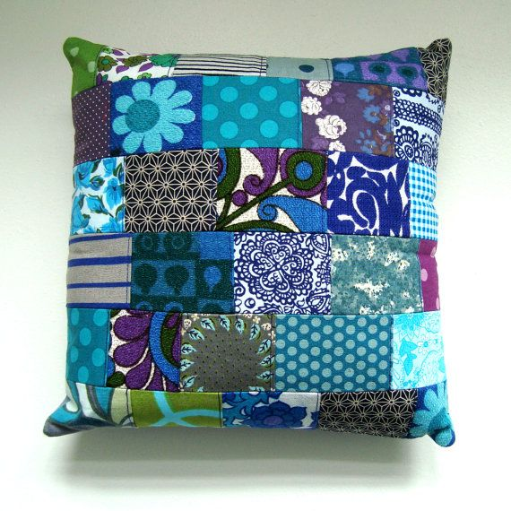 Vintage Fabric Patchwork Pillow / Cushion Cover  by madebylisajane, £24.50