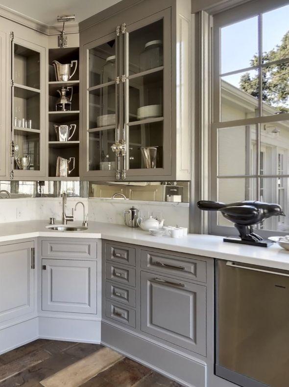 hardware, cabinet color, mirrored backsplash like the corner open