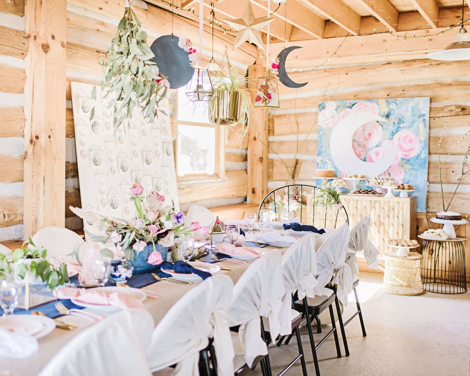 over the moon baby bridal shower event design