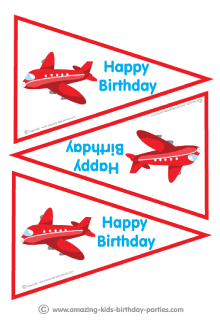 free printable airplane kid party flags cards invitations
