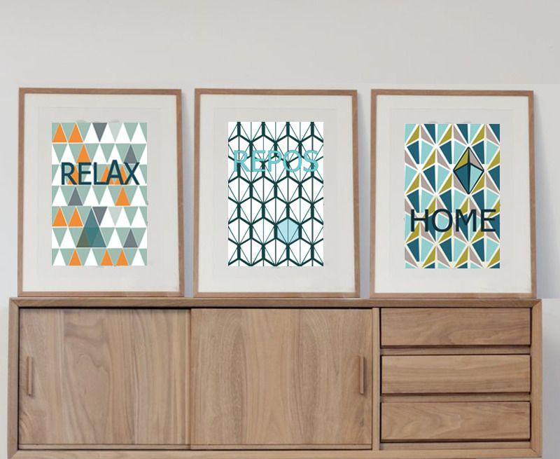 pack de 3 affiches tendances avec motifs scandinaves. Black Bedroom Furniture Sets. Home Design Ideas
