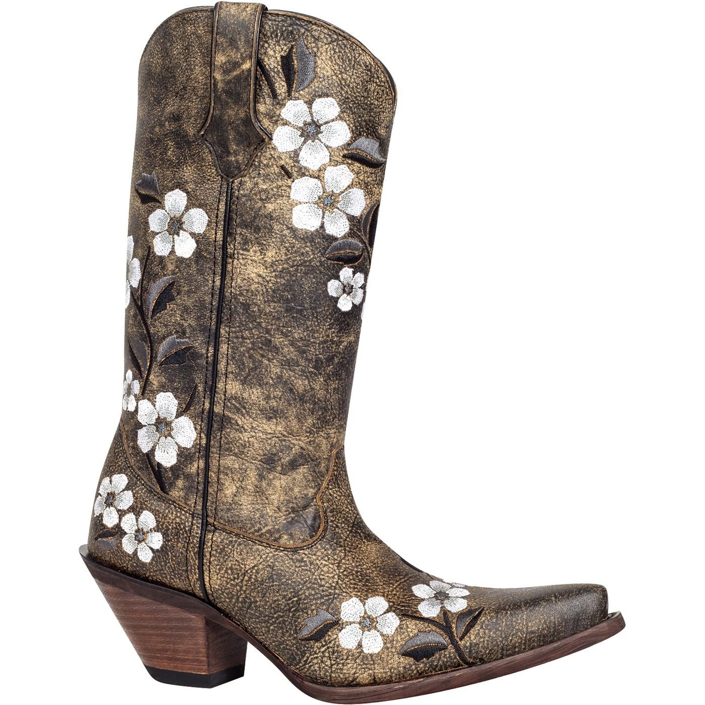 RD3542 Crush by Durango Womens 12  PullOn Embroidered Floral Western  Boots
