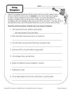 Metaphor Worksheet - Using Metaphors | Sentences, Worksheets and ...