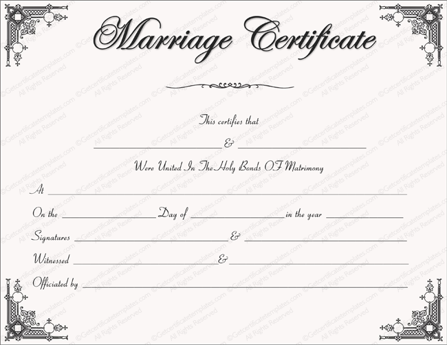 Intimacy Marriage Certificate Template  Cody And Angels Wedding